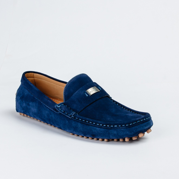 Gucci blue suede drivers