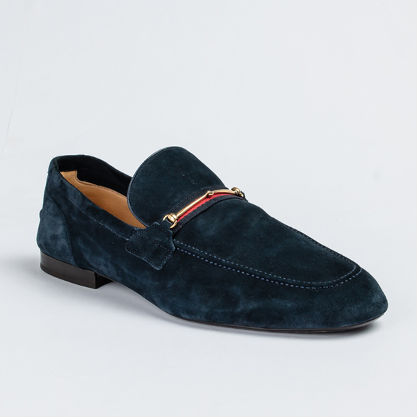Gucci blue suede bit loafers