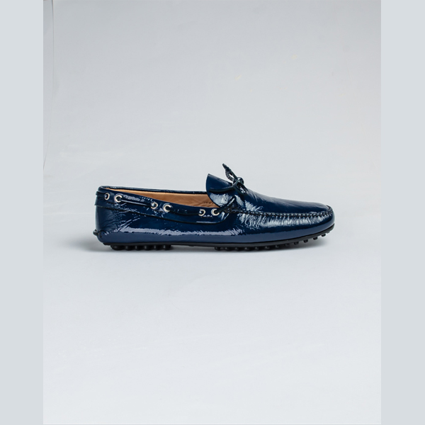 Car shoe blue painted leather drivers