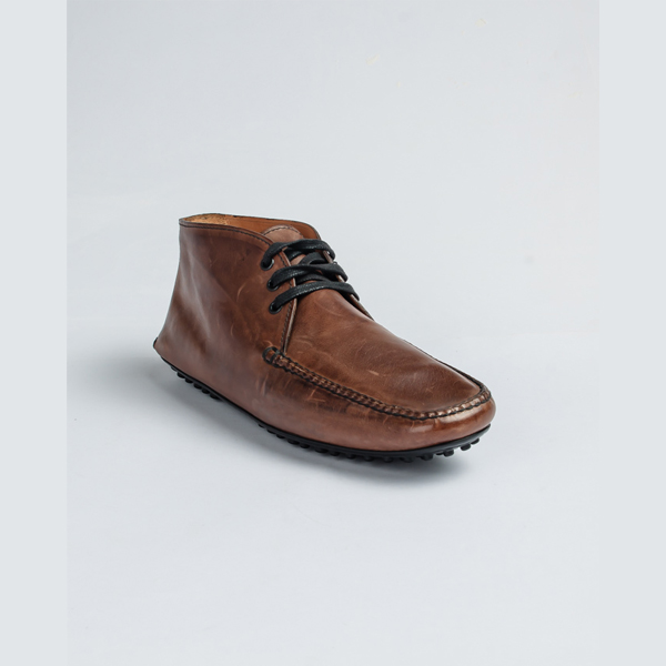 Car shoe brown leather high-top drivers