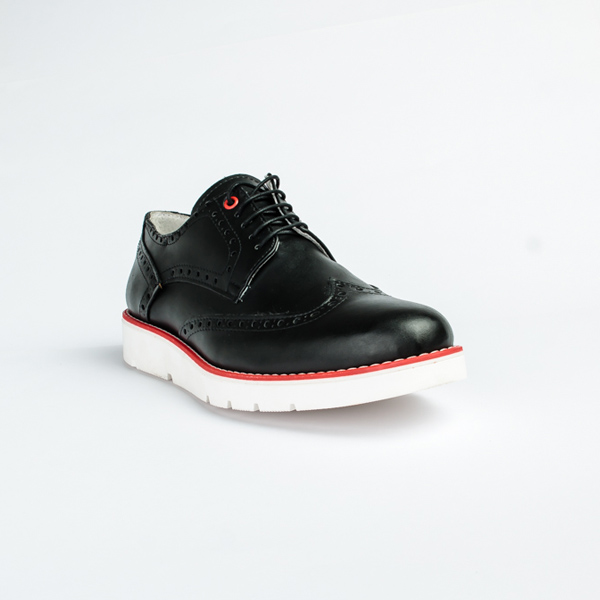 Vulcan black leather lace up Brogues shoe