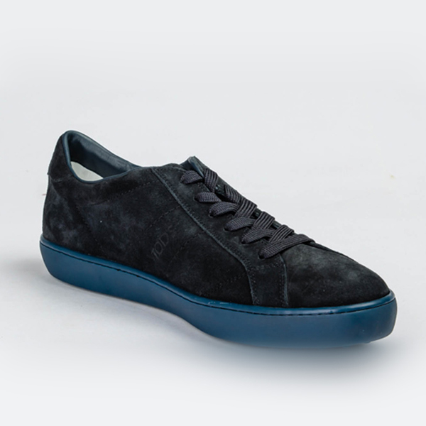 Tod's deep blue suede lace up sneakers