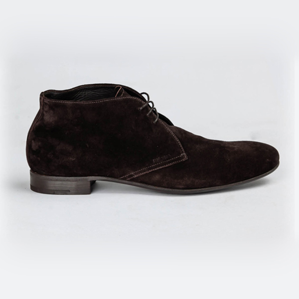 Brown Suede Lace Up Chukka Boot by Prada