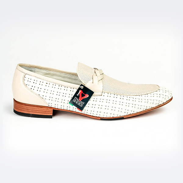 Rossi white slip-on with elegantly woven leather