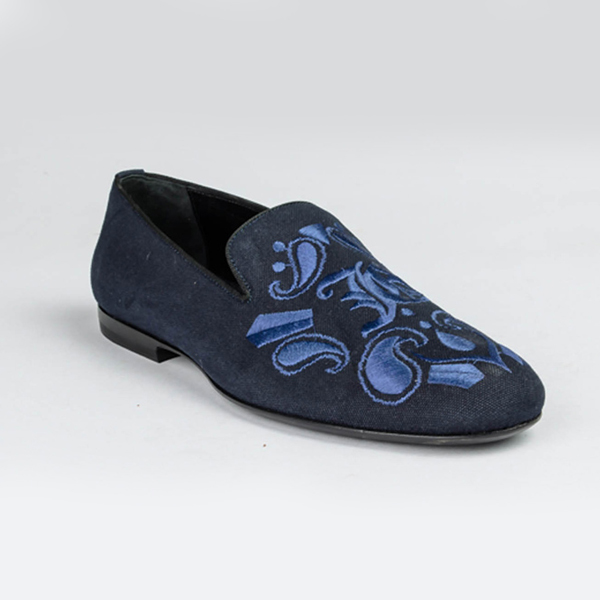 John galliano black and blue suede slip-on