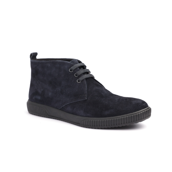 Blue suede Chukka boot by Prada