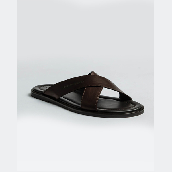 Armani Brown slippers with cross leather finishing