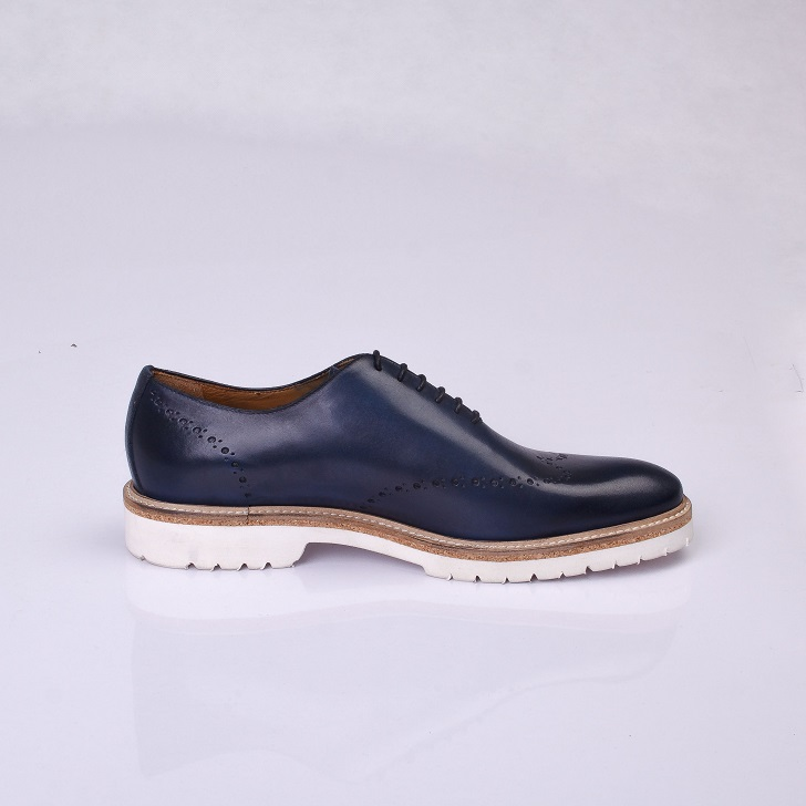 FPC Blue Leather Derby Lace-up with White Rubber Sole 3