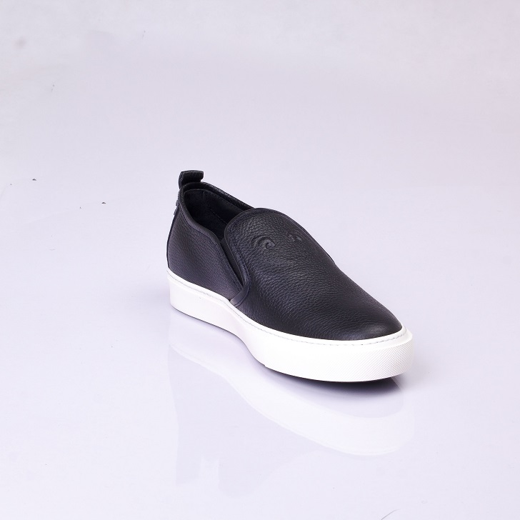 Roberto Cavalli Black Leather Slip-on with White Sole 3