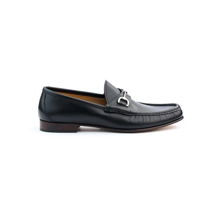 Black Leather Gucci Mocassin with Silver Horse bit and Leather Sole