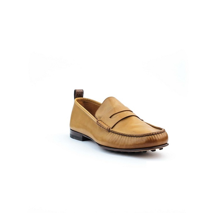 Tan Brown Gucci moccassin with studded rubber sole