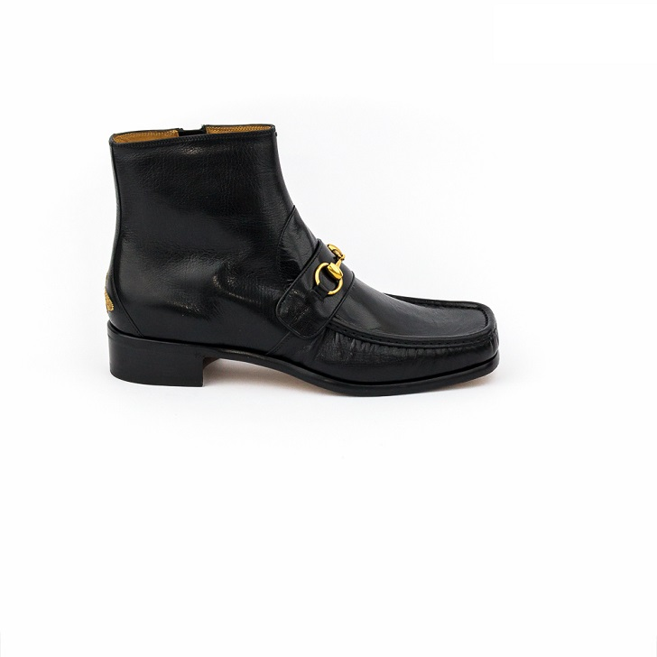 8ccc79184 Gucci Black Leather Boots with Gold Horse-Bit - FrontPage For Men