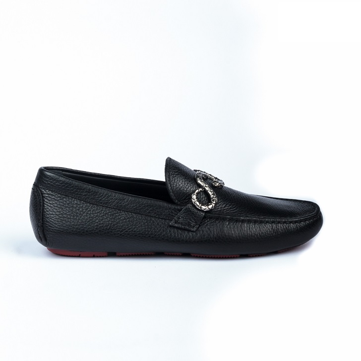 Roberto Cavalli Black Leather Drivers with Snake Buckle