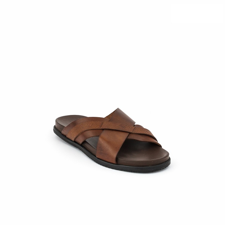 FPC Brown Criss-Cross Open Toe Slippers
