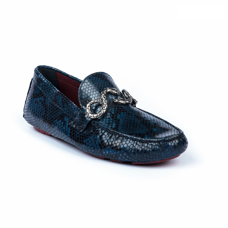 Roberto Cavalli Blue Python Print Drivers with Snake Buckle