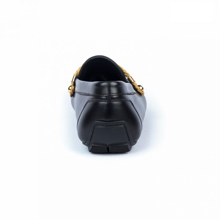 John Galliano Black Drivers with Gold Trimmings