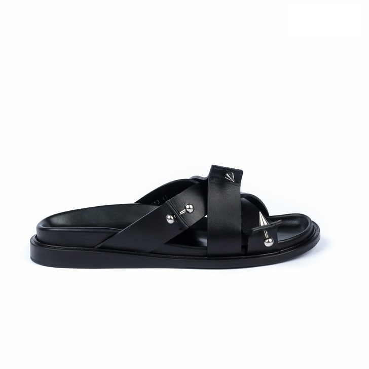 John Galliano Black Leather Sandals With Studs