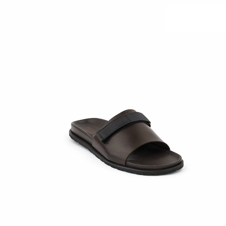 FPC Brown Open Toe Slippers with Detachable Strap
