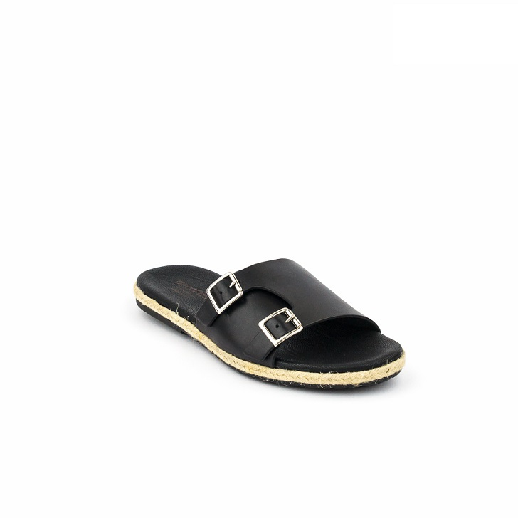 FPC Black Monk-Strap Open Toe Slippers