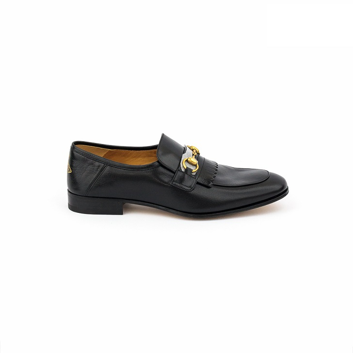Gucci Black Leather Loafers with Gold Horse-Bit