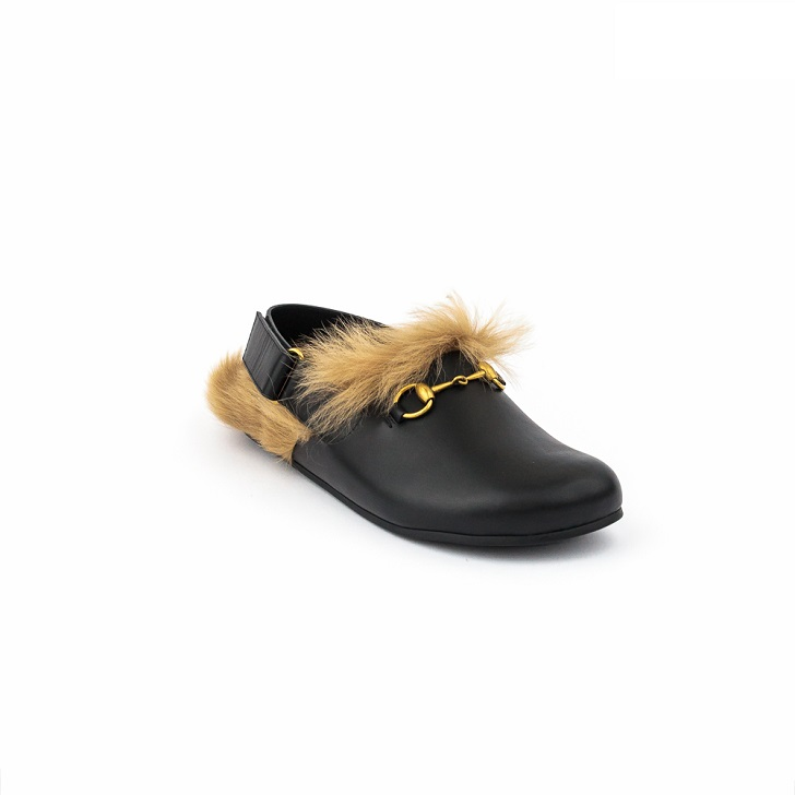 Gucci Black Leather Sandals with Gold Horse-Bit and Furs