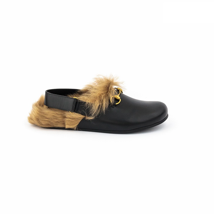fe3c61c37ac Gucci Black Leather Sandals with Gold Horse-Bit and Furs - FrontPage ...