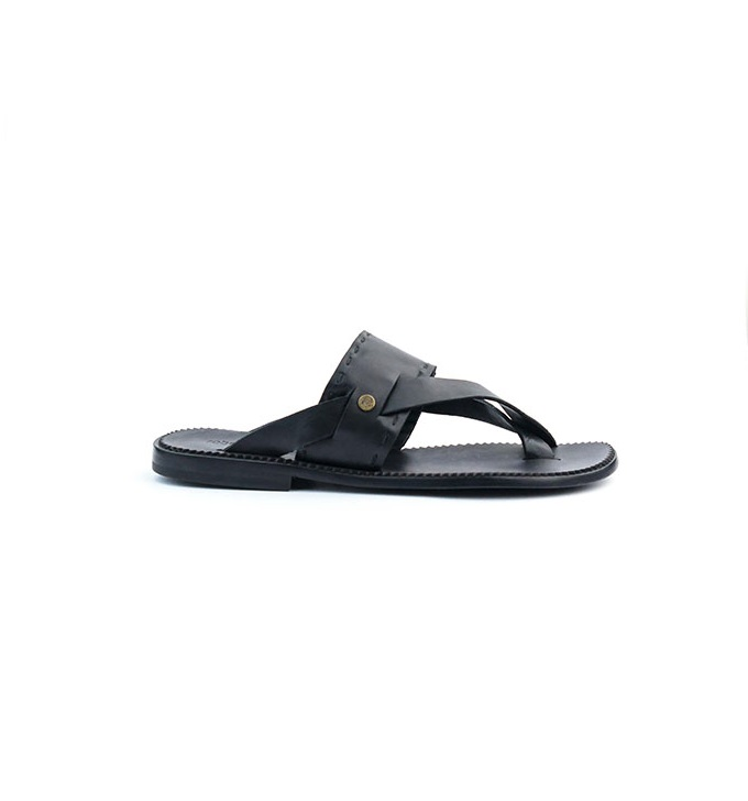 289a2f5564a Roberto Cavalli Hand made Black Leather Criss-cross Slippers