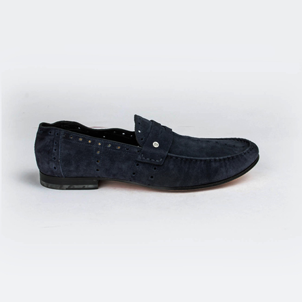 John Galliano blue suede Penny Loafers with perforation