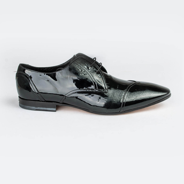 John Galliano black Wet-look lace-up