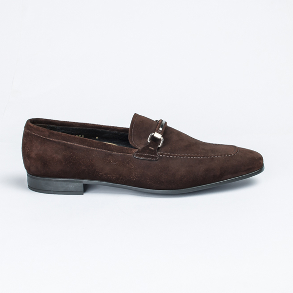 Prada brown suede bit loafers
