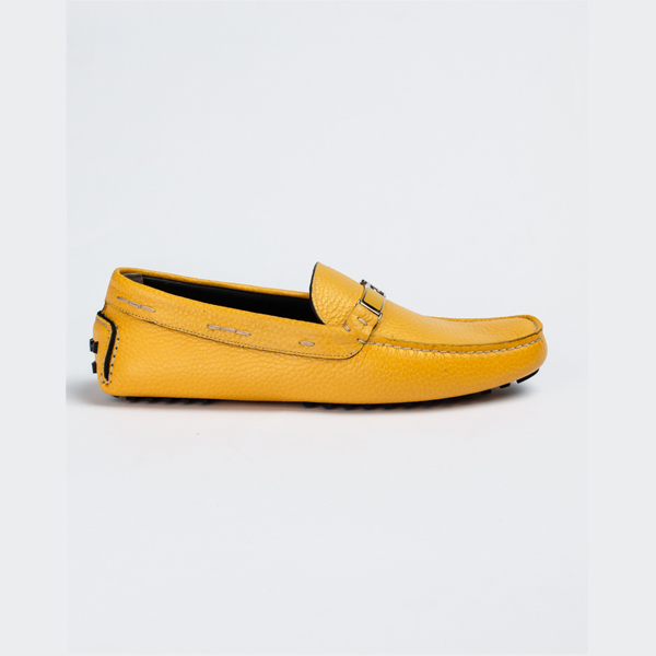Fendi yellow leather drivers