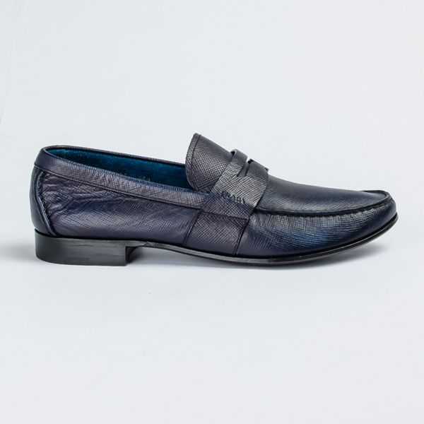 Prada Blue moccasin with unusual leather