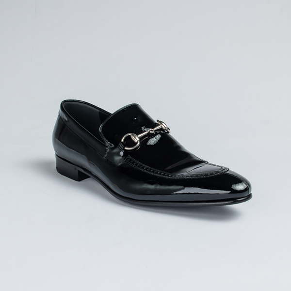 Gucci black wet-look leather bit loafers