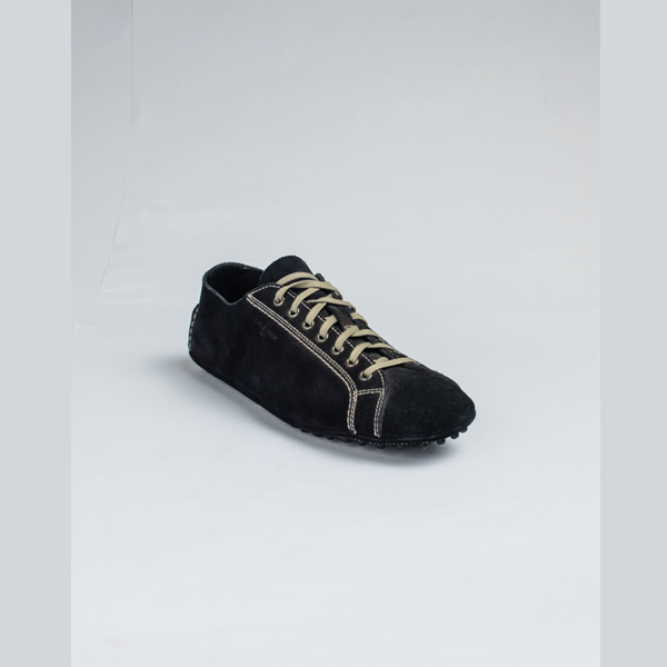 Car shoe black suede lace-up