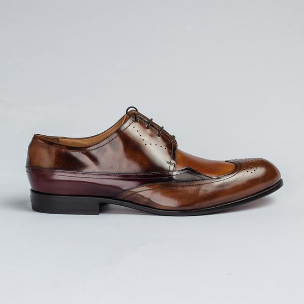 John galliano tan brown lace-up