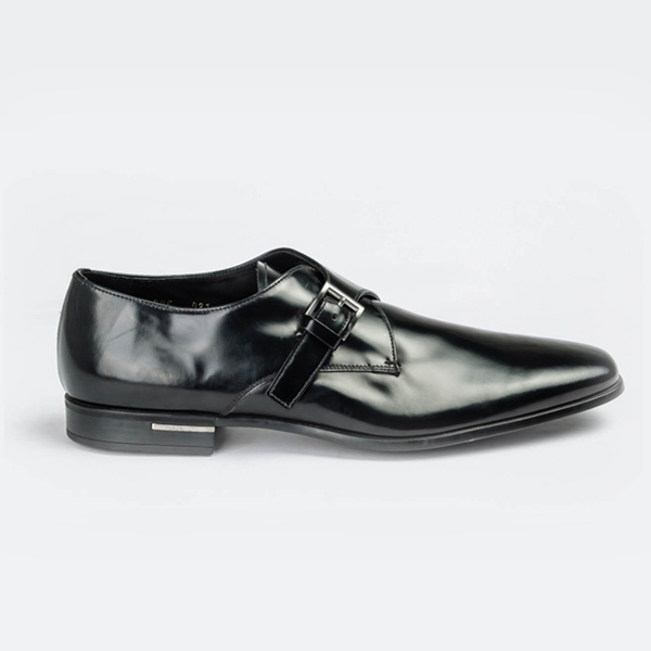 Prada black painted leather moccasin