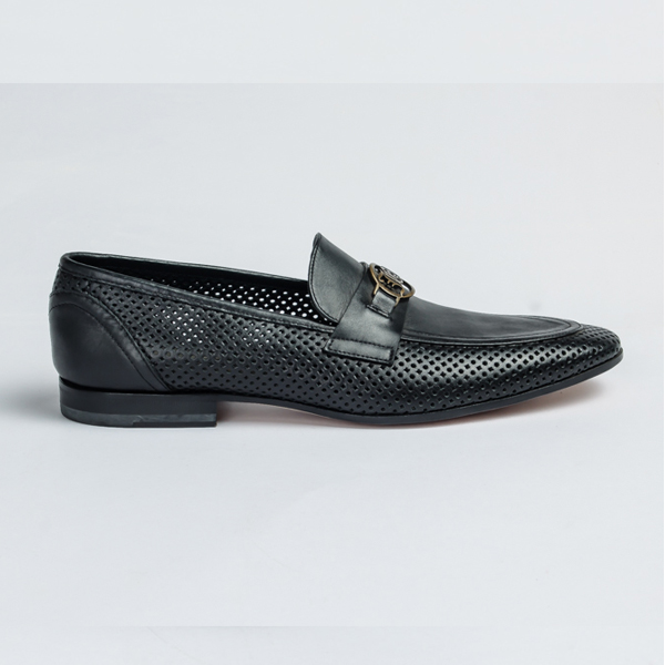 John galliano black leather slip-on