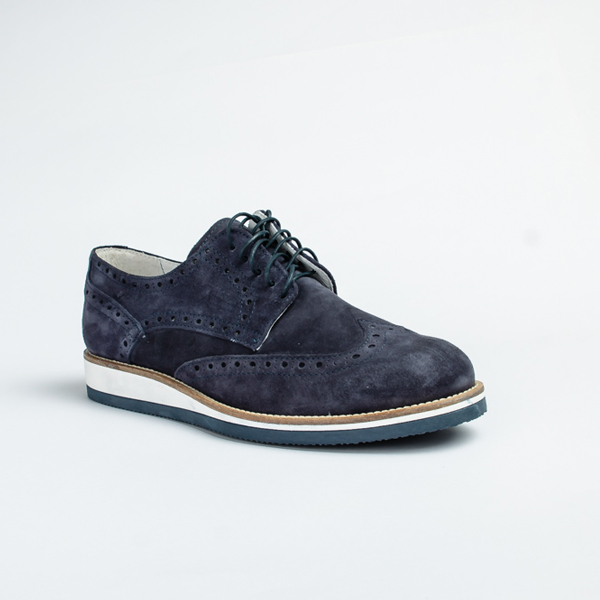 Vulcan blue suede lace-up Brogues shoe with White Sole