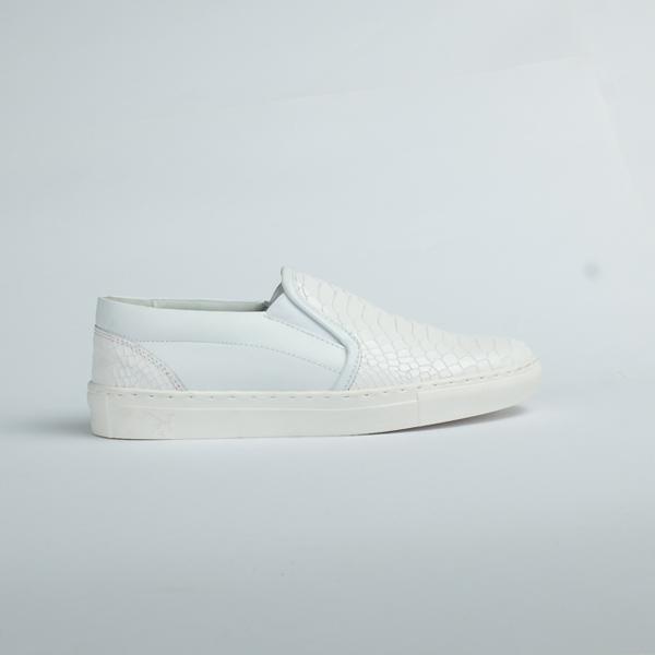 Vulcan white leather slip on