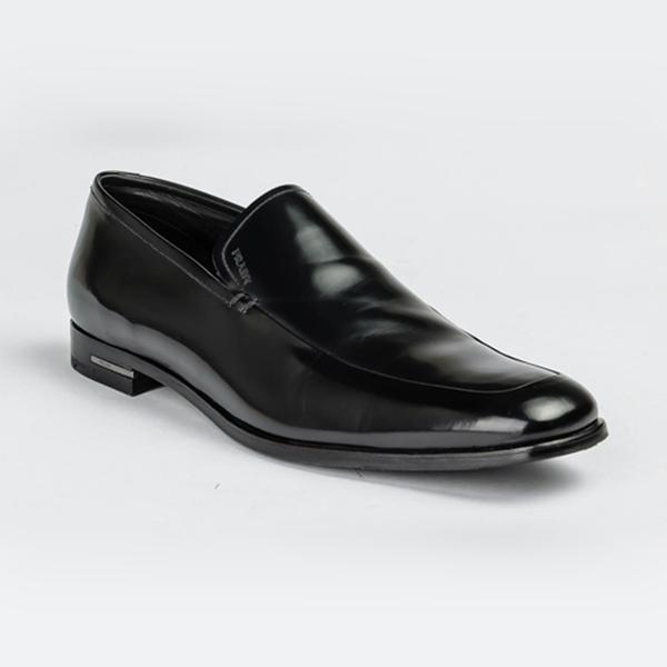 Black patent Prada moccasin