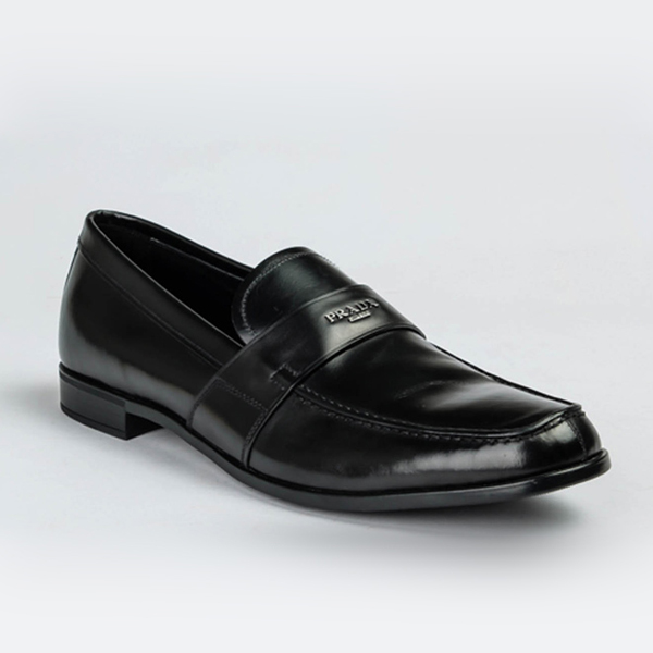 Prada black leather moccasin