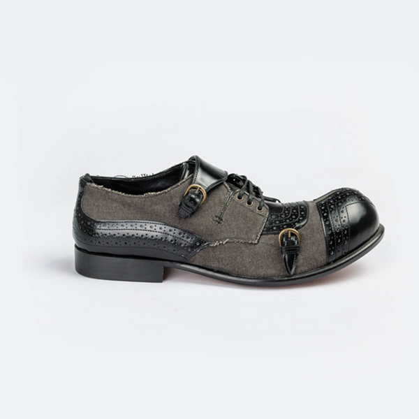 John galliano black and grey lace-up