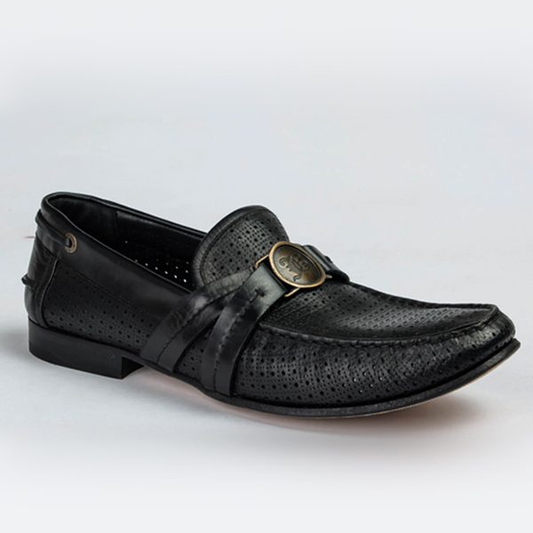 John Galliano black leather slip-on with perforation