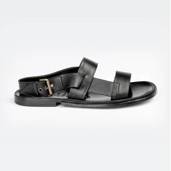 John galliano black leather sandal