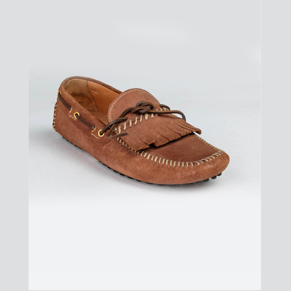 Car shoe original brown classic fringed mocassin
