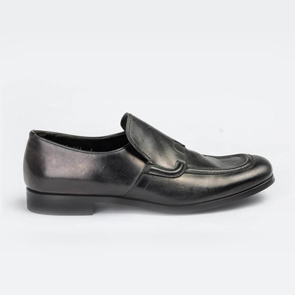 Prada black leather slip-on