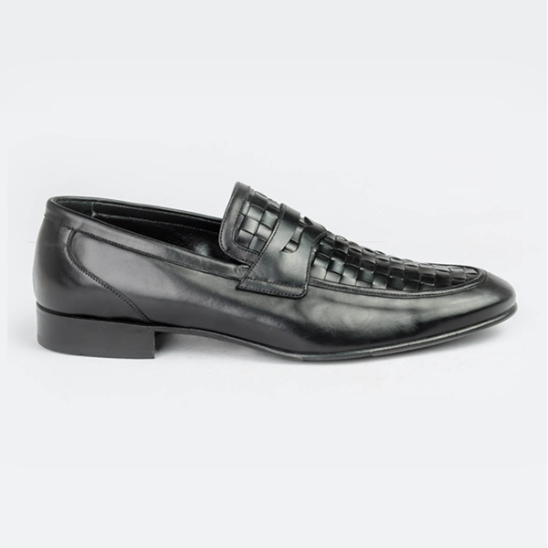 Rossi black leather slip-on