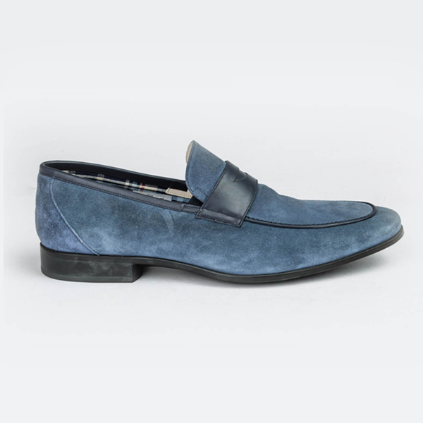 Rossi sky blue moccasin slip-on