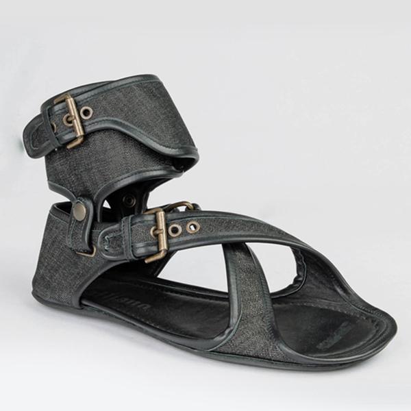 John galliano black leather sandal