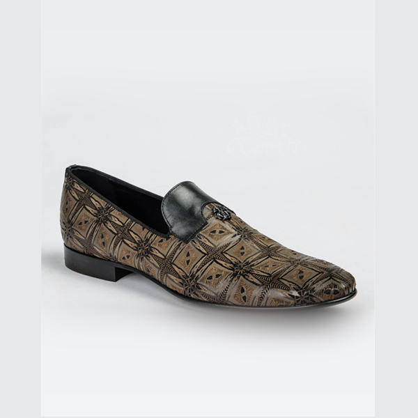 Cavalli brown and black loafers with motif designs